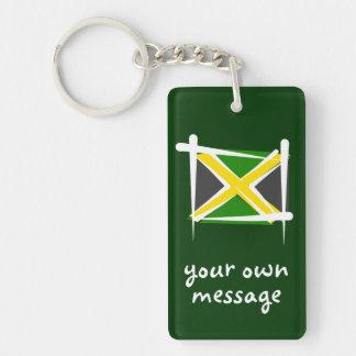 Bandera del cepillo de Jamaica Llavero Rectangular Acrílico A Doble Cara