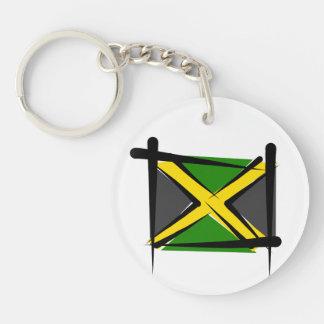 Bandera del cepillo de Jamaica Llavero Redondo Acrílico A Doble Cara
