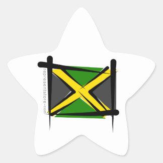 Bandera del cepillo de Jamaica Pegatinas Forma De Estrellaes