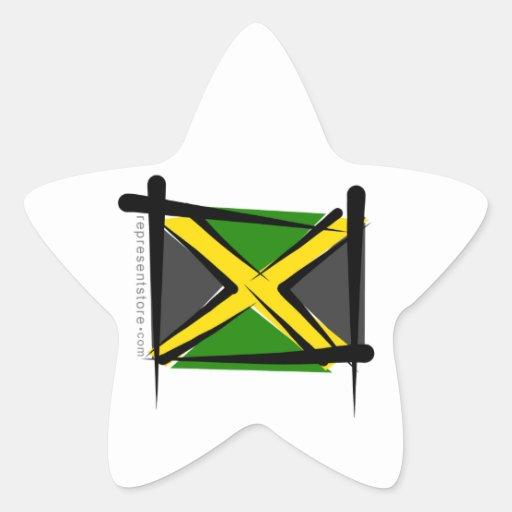 Bandera del cepillo de Jamaica Pegatina En Forma De Estrella