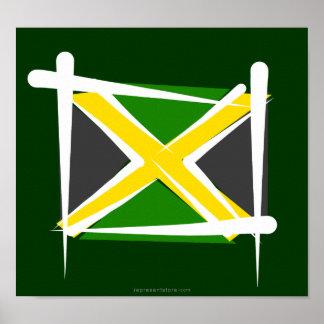 Bandera del cepillo de Jamaica Póster