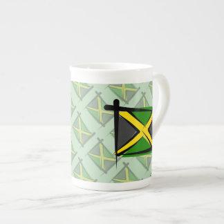 Bandera del cepillo de Jamaica Taza De Porcelana