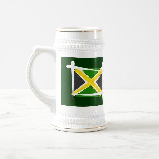 Bandera del cepillo de Jamaica Taza De Café