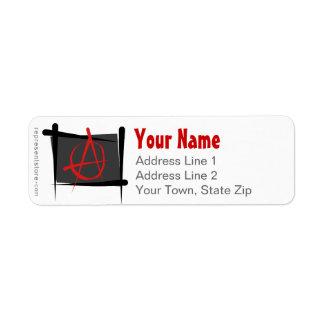Bandera del cepillo de la anarquía etiqueta de remitente