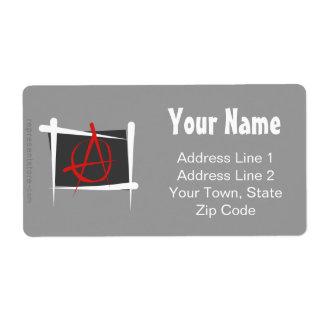 Bandera del cepillo de la anarquía etiquetas de envío