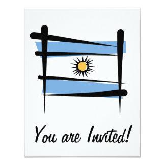 """Bandera del cepillo de la Argentina Invitación 4.25"""" X 5.5"""""""