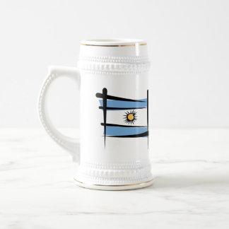 Bandera del cepillo de la Argentina Jarra De Cerveza