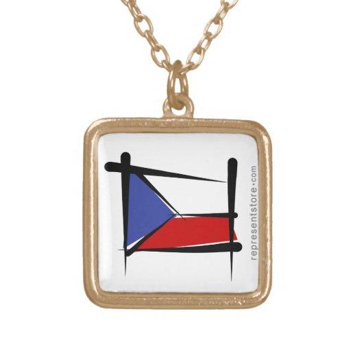 Bandera del cepillo de la República Checa Colgante Cuadrado