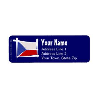 Bandera del cepillo de la República Checa Etiqueta De Remite