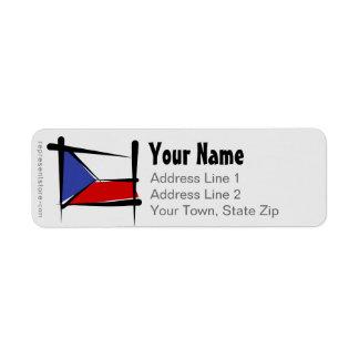 Bandera del cepillo de la República Checa Etiqueta De Remitente