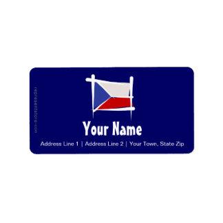 Bandera del cepillo de la República Checa Etiquetas De Dirección