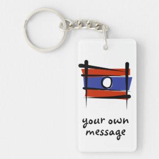 Bandera del cepillo de Laos Llavero Rectangular Acrílico A Doble Cara