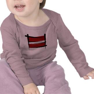 Bandera del cepillo de Letonia Camisetas
