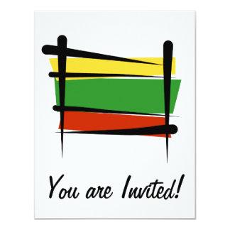 """Bandera del cepillo de Lituania Invitación 4.25"""" X 5.5"""""""