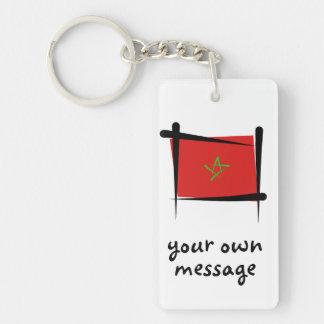 Bandera del cepillo de Marruecos Llavero Rectangular Acrílico A Doble Cara