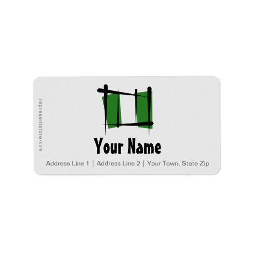Bandera del cepillo de Nigeria Etiquetas De Dirección