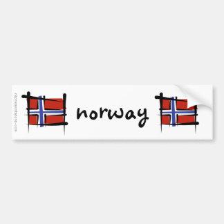 Bandera del cepillo de Noruega Pegatina De Parachoque