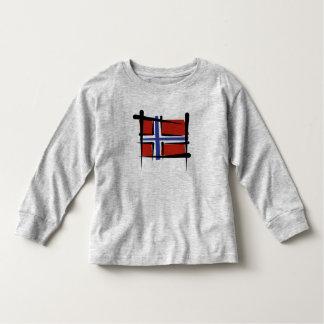 Bandera del cepillo de Noruega Playera De Manga Larga De Niño
