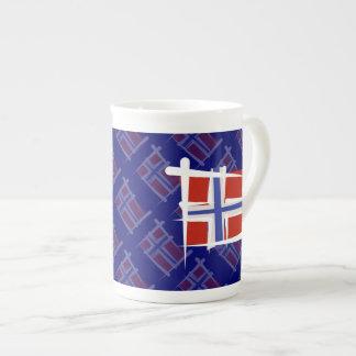 Bandera del cepillo de Noruega Taza De Porcelana