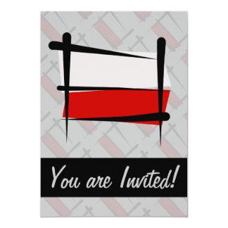 """Bandera del cepillo de Polonia Invitación 5"""" X 7"""""""
