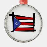 Bandera del cepillo de Puerto Rico Adorno De Navidad