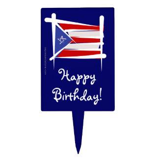 Bandera del cepillo de Puerto Rico Decoraciones De Tartas