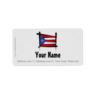 Bandera del cepillo de Puerto Rico Etiqueta De Dirección