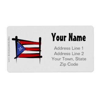 Bandera del cepillo de Puerto Rico Etiqueta De Envío