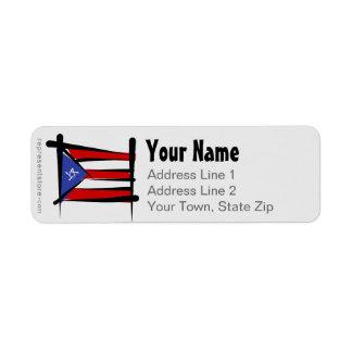 Bandera del cepillo de Puerto Rico Etiqueta De Remite