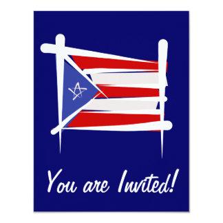 """Bandera del cepillo de Puerto Rico Invitación 4.25"""" X 5.5"""""""