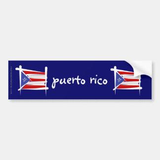 Bandera del cepillo de Puerto Rico Pegatina Para Auto