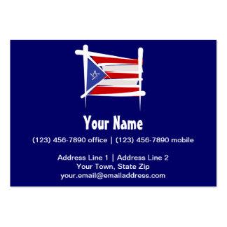 Bandera del cepillo de Puerto Rico Tarjetas De Visita Grandes