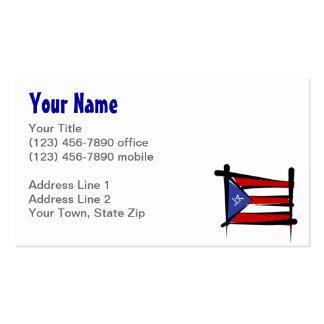 Bandera del cepillo de Puerto Rico Tarjetas De Visita