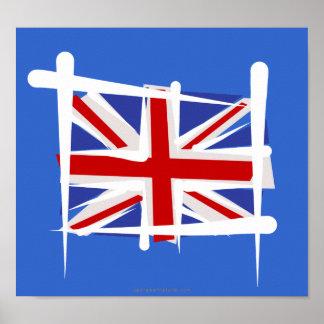 Bandera del cepillo de Reino Unido Posters