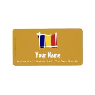 Bandera del cepillo de República eo Tchad Etiquetas De Dirección