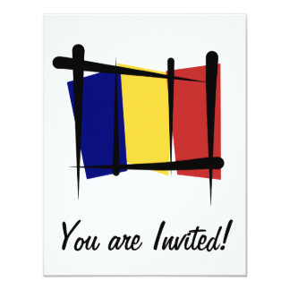 """Bandera del cepillo de República eo Tchad Invitación 4.25"""" X 5.5"""""""