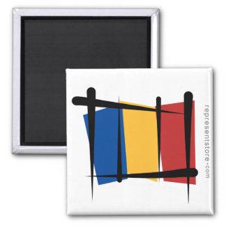 Bandera del cepillo de Rumania Imán Cuadrado