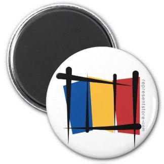 Bandera del cepillo de Rumania Imán Redondo 5 Cm
