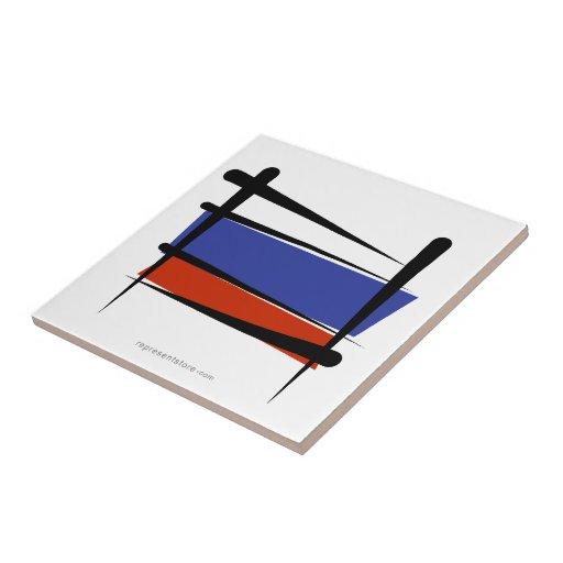 Bandera del cepillo de Rusia Azulejo Cuadrado Pequeño