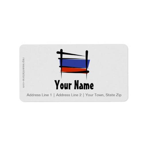 Bandera del cepillo de Rusia Etiqueta De Dirección