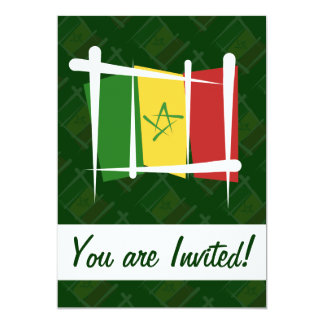 """Bandera del cepillo de Senegal Invitación 5"""" X 7"""""""