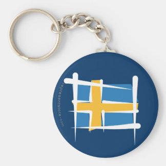 Bandera del cepillo de Suecia Llavero Redondo Tipo Pin
