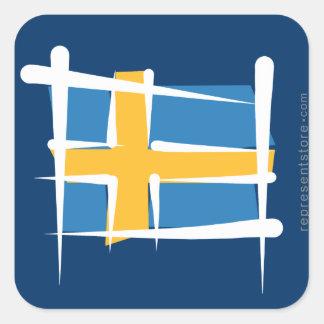 Bandera del cepillo de Suecia Pegatina Cuadrada