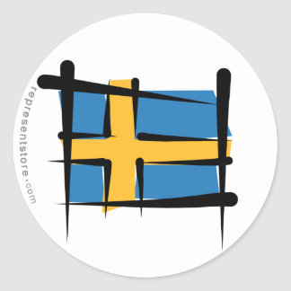 Bandera del cepillo de Suecia Pegatina Redonda