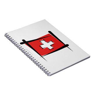 Bandera del cepillo de Suiza Libros De Apuntes Con Espiral