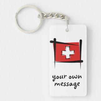 Bandera del cepillo de Suiza Llavero Rectangular Acrílico A Doble Cara