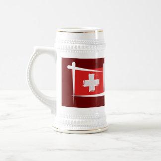 Bandera del cepillo de Suiza Jarra De Cerveza