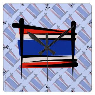 Bandera del cepillo de Tailandia Reloj Cuadrado