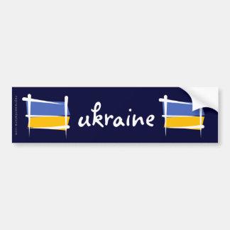 Bandera del cepillo de Ucrania Pegatina De Parachoque