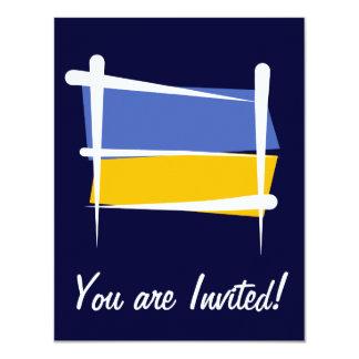 """Bandera del cepillo de Ucrania Invitación 4.25"""" X 5.5"""""""